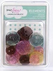 American Crafts Glitter Buttons - Dear Lizzy