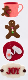 American Crafts - Dear Lizzy Christmas Collection - Layered Felt Stickers - Details Tidings