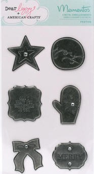 American Crafts - Dear Lizzy Christmas Collection - Mementos Metal Charms - Festive