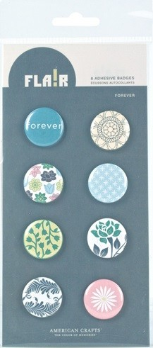 American Crafts - Flair Adhesive Badges - Forever