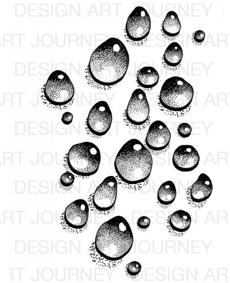 Art Journey - Unmounted Rubber Stamps - Waterdrops 1