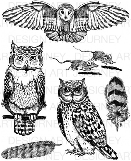 Art Journey - Unmounted Rubber Stamps - Owls