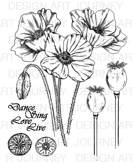 Art Journey - Unmounted Rubber Stamps - Poppy