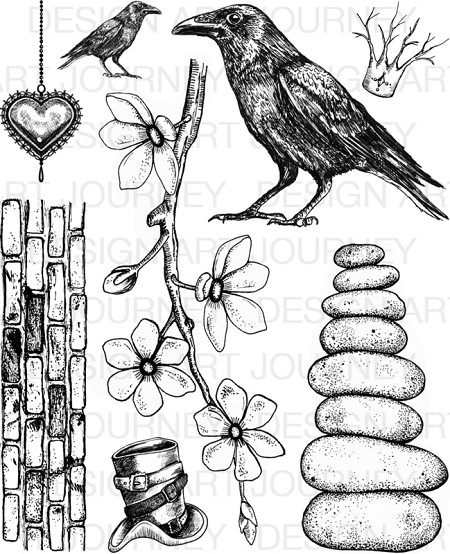 Art Journey - Unmounted Rubber Stamps - Crows