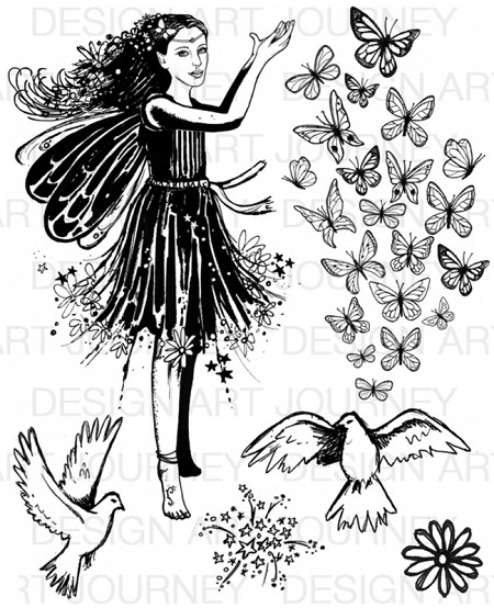 Art Journey - Unmounted Rubber Stamps - Fairy Girl