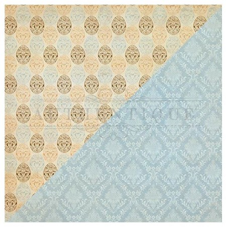 "Authentique - Abundant Collection - One, Vintage eggs/blue damask - 12""x12"" Double Sided Cardstock"