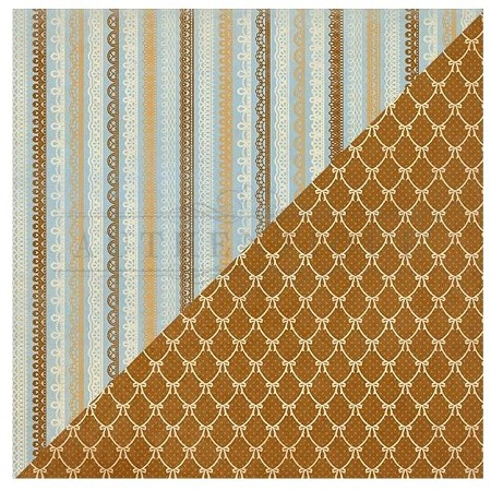 "Authentique - Abundant Collection - Two, Quilted Bows/Lace Stripes - 12""x12"" Double Sided Cardstock"