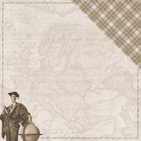 "Authentique - Accolade Collection - 12""x12"" Double Sided Cardstock - Two, map and grad/brown plaid"