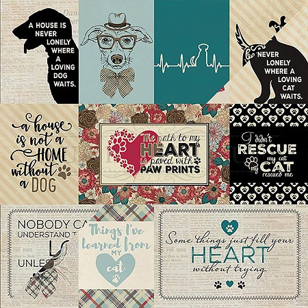 "Authentique - Companions Collection - 12""x12"" Double Sided Cardstock - Eight, Cat Cut-Aparts/Dog Cut-Aparts"