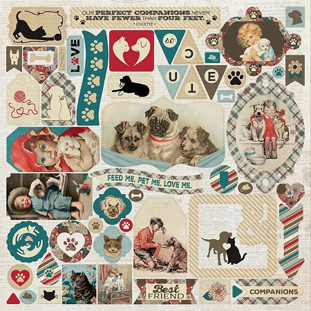 "Authentique - Companions Collection - 12""x12"" Details Sticker Sheet"