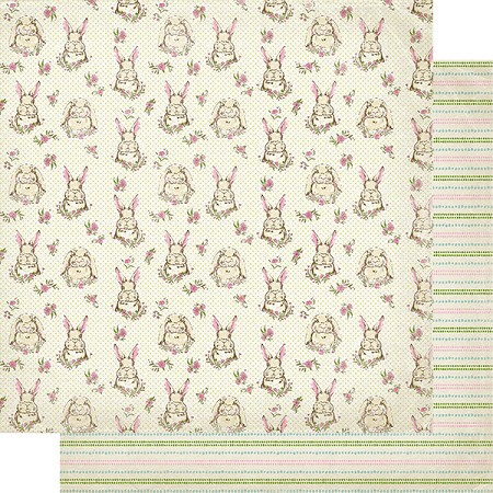 "Authentique - Cottontail Collection - Two, Bunnies/Dotted Stripes- 12""x12"" Double Sided Cardstock"