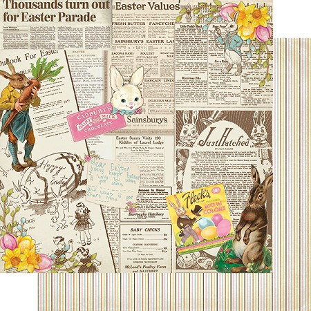 "Authentique - Cottontail Collection - Four, Easter newspaper/Stripes - 12""x12"" Double Sided Cardstock"