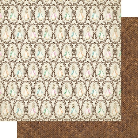 "Authentique - Cottontail Collection - Five, Basketweave/Vintage bunnies - 12""x12"" Double Sided Cardstock"