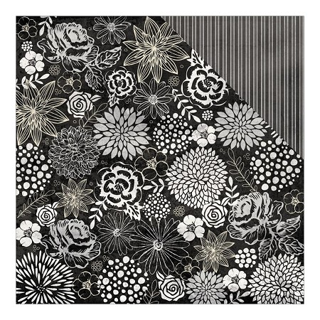 "Authentique - Everlasting Collection - 12""x12"" Double Sided Cardstock - Timeless Floral/Classic Ticking Stripe"