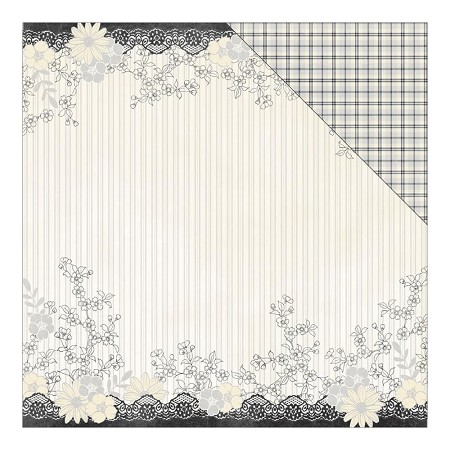 "Authentique - Everlasting Collection - 12""x12"" Double Sided Cardstock - Abiding Floral & Lace Border/Plaid"