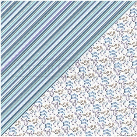 "Authentique - Frosted Collection - 12""x12"" Double Sided Cardstock - Five, Socks/Stripes"