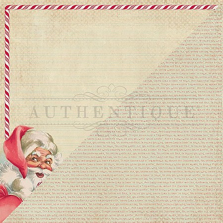"Authentique - Jingle Collection - 12""x12"" Double Sided Cardstock - One, Retro Santa Frame/word background"