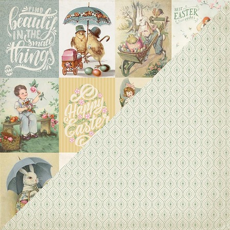 "Authentique - Jubilee Collection - 12""x12"" Double Sided Cardstock - Six, green pattern/Easter cut-out cards"