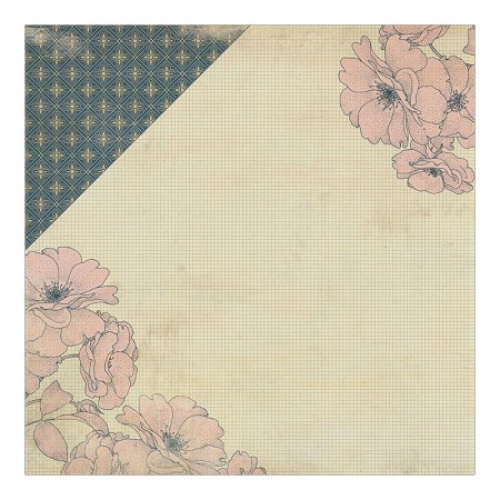 "Authentique - Legacy Collection - 12""x12"" Double Sided Cardstock - Generation Floral Side/Floral Wallpaper"