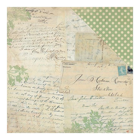 "Authentique - Legacy Collection - 12""x12"" Double Sided Cardstock - History Letters & Postcards/Simple Dot"