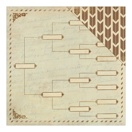 "Authentique - Legacy Collection - 12""x12"" Double Sided Cardstock - Lineage Ancestral Chart/Fletching Arrows"