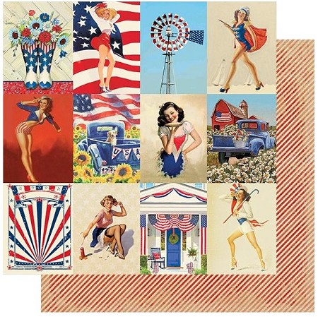 "Authentique - Liberty Collection - Seven, Pinup Cards/Red Stripes - 12""x12"" Double Sided Cardstock"
