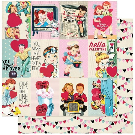 "Authentique - Love Notes Collection - Seven, heart banners/Valentine cut-aparts - 12""x12"" Double Sided Cardstock"