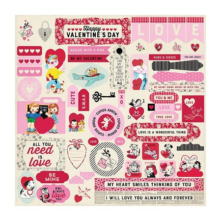 "Authentique - Love Notes Collection - 12""x12"" Elements Sticker Sheet"