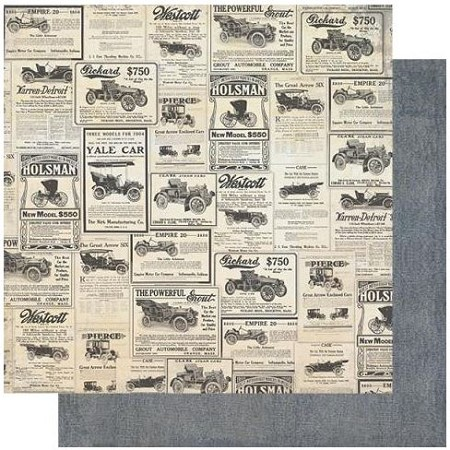 "Authentique - Mister Collection - Two, Denim/Newspaper Car Ads - 12""x12"" Double Sided Cardstock"