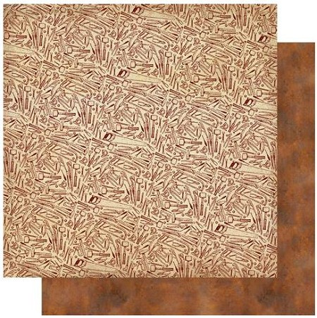 "Authentique - Mister Collection - Five, Tools/Rust Texture - 12""x12"" Double Sided Cardstock"
