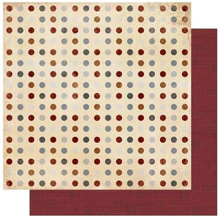 "Authentique - Mister Collection - Six, Burgundy Tape Measures/Dots - 12""x12"" Double Sided Cardstock"