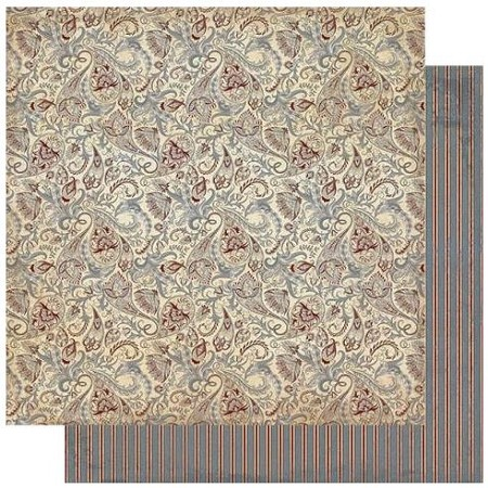 "Authentique - Mister Collection - Seven, Paisley/Stripe - 12""x12"" Double Sided Cardstock"