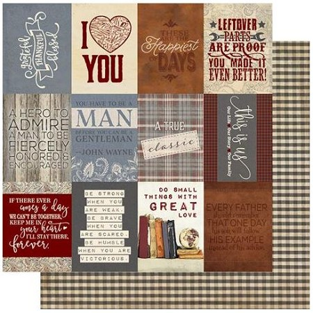 "Authentique - Mister Collection - Eleven, Brown Gingham/Cut-Outs - 12""x12"" Double Sided Cardstock"
