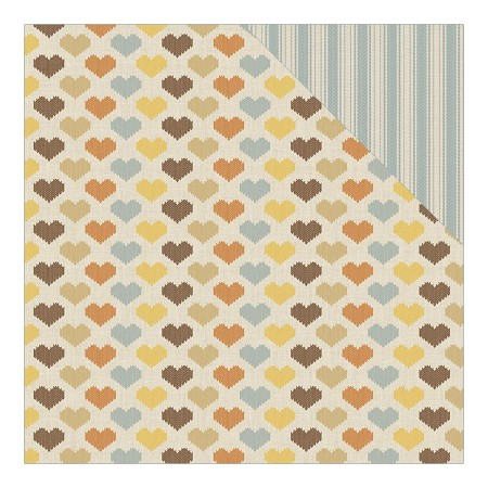 "Authentique - Nestled Collection - 12""x12"" Double Sided Cardstock - Hearty Crochet Heart/Flour Sack Stripe"