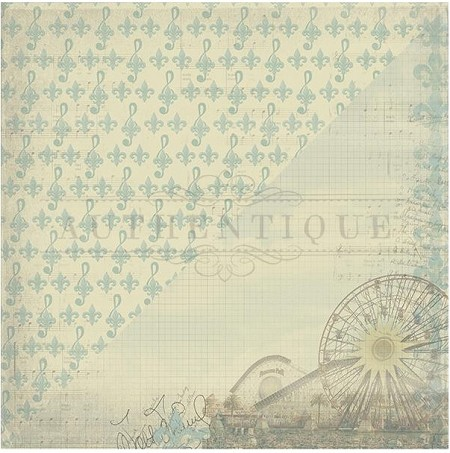"Authentique - Pastime Collection - 12""x12"" Double Sided Cardstock - Five, Ferris Wheel/Fleur De Lis & Music Notes"