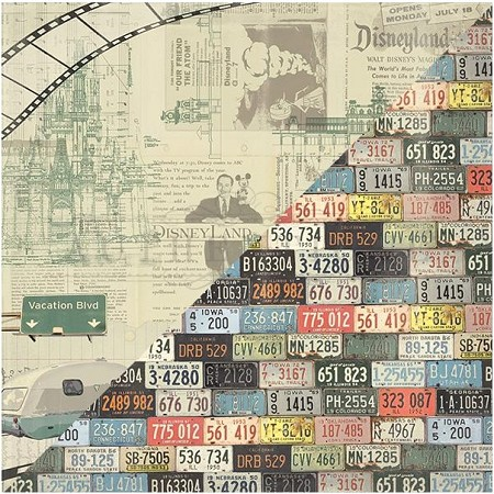 "Authentique - Pastime Collection - 12""x12"" Double Sided Cardstock - Six, Road Signs, Parks/License Plates"