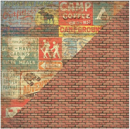 "Authentique - Pastime Collection - 12""x12"" Double Sided Cardstock - Nine, Rusty Signs/Worn Bricks"