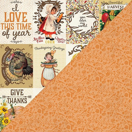 "Authentique - Pleasant Collection - 12""x12"" Double Sided Cardstock - Eight, Thanksgiving Cut-Aparts/Orange Floral"