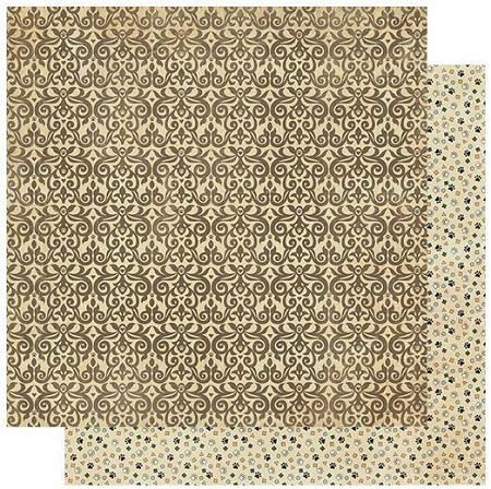 "Authentique - Purebred Collection - Three, Brown Swirls/Paw Prints - 12""x12"" Double Sided Cardstock"