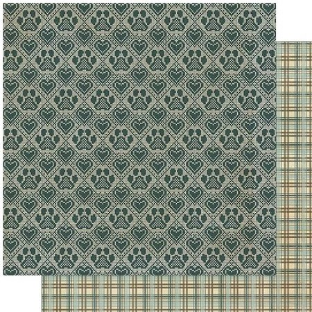 "Authentique - Purebred Collection - Four, Hearts & Paws/Plaid - 12""x12"" Double Sided Cardstock"