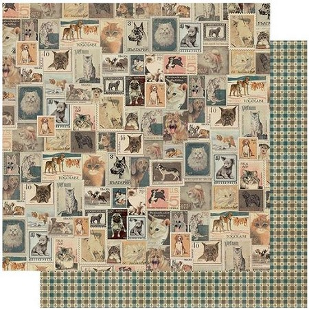 "Authentique - Purebred Collection - Six, Vintage postage/Pawprint gingham - 12""x12"" Double Sided Cardstock"