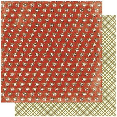 "Authentique - Rejoice Collection - One, Christmas plaid/Bells - 12""x12"" Double Sided Cardstock"