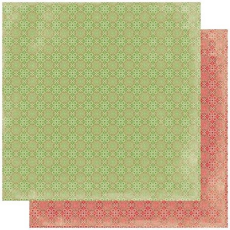 "Authentique - Rejoice Collection - Three, Red & Green medallion pattern - 12""x12"" Double Sided Cardstock"