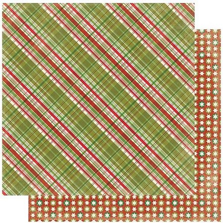 "Authentique - Rejoice Collection - Six, Christmas plaid/stars - 12""x12"" Double Sided Cardstock"