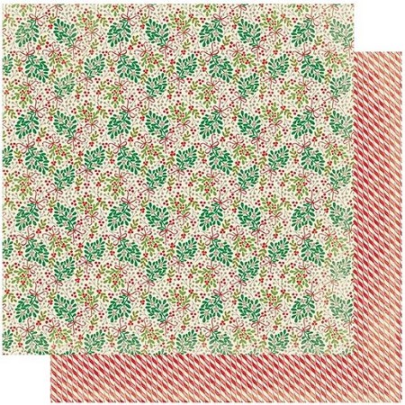 "Authentique - Rejoice Collection - Twelve, Mistletoe/Candy Cane Stripes - 12""x12"" Double Sided Cardstock"