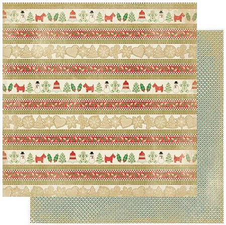 "Authentique - Rejoice Collection - Seventeen, Christmas cookies strips/tiny diamond dot - 12""x12"" Double Sided Cardstock"