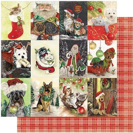 "Authentique - Rejoice Collection - Twenty-One, Pet Cut-Aparts/Red Plaid - 12""x12"" Double Sided Cardstock"