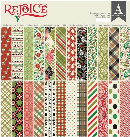 Authentique - Rejoice Collection - Designer Patterns 12x12 paper pad