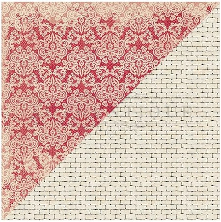 "Authentique - Romance Collection - 12""x12"" Double Sided Cardstock - Two, Damask Lace/Brick"