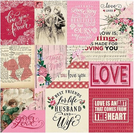 "Authentique - Romance Collection - 12""x12"" Double Sided Cardstock - Eight, Valentine Cut-Aparts"